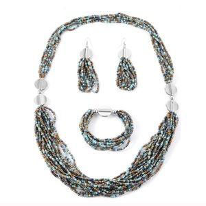 Jewelry - Turquoise Seedbead earrings, bracelet necklace set